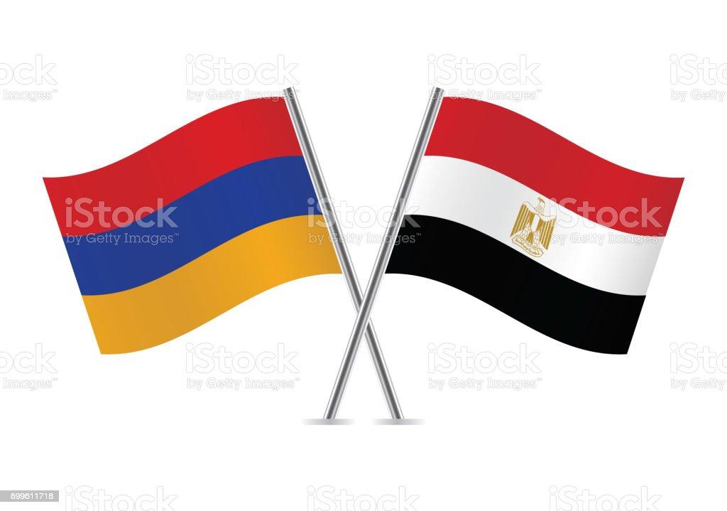 Armenia and Egypt flags. Vector illustration.