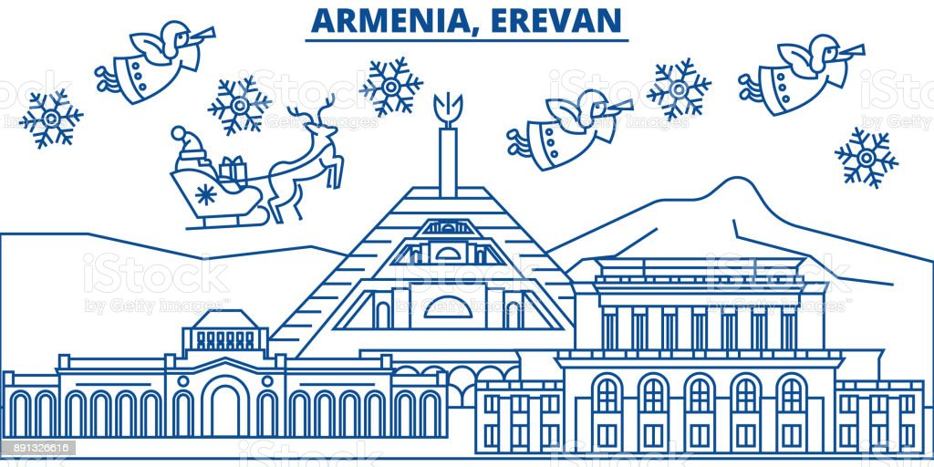 Armenia erevan winter city skyline merry christmas happy new year armenia erevan winter city skyline merry christmas happy new year decorated banner with m4hsunfo