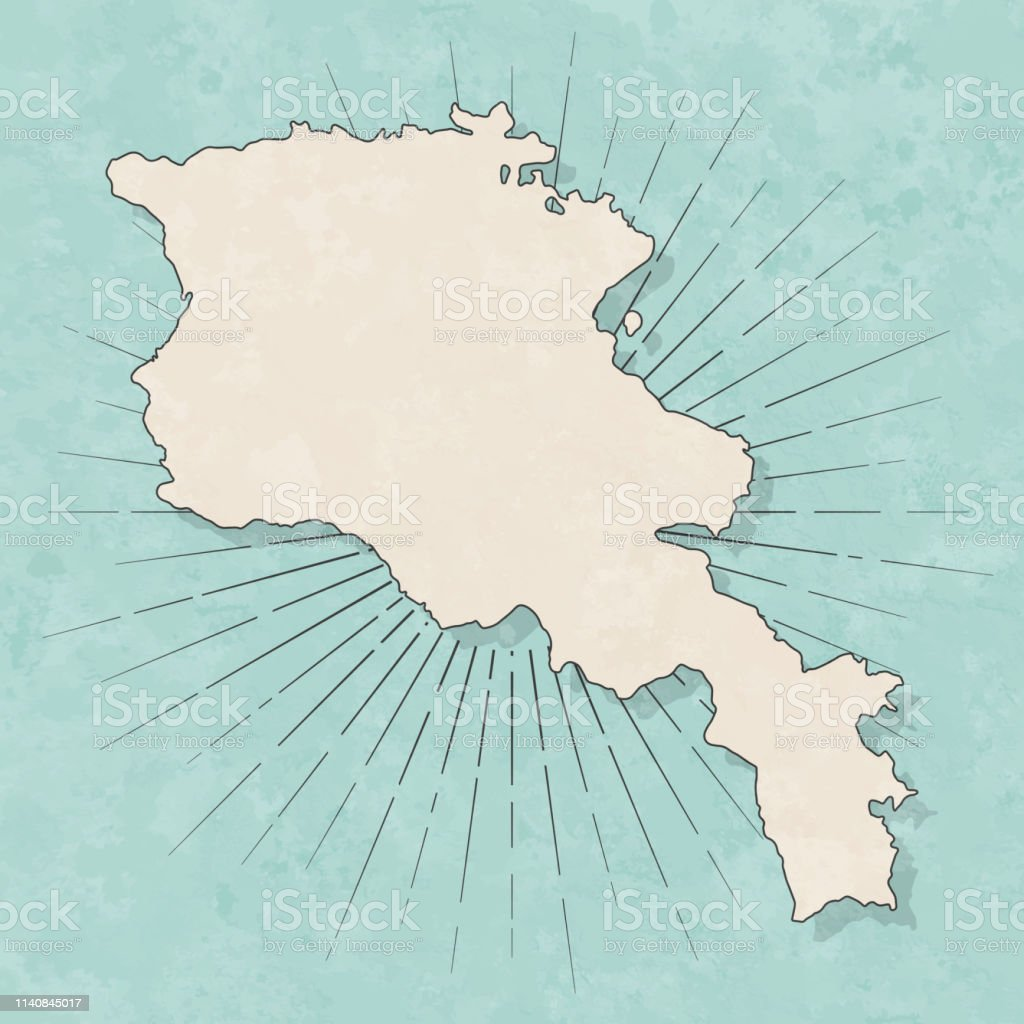 Map of Armenia in a trendy vintage style. Beautiful retro...