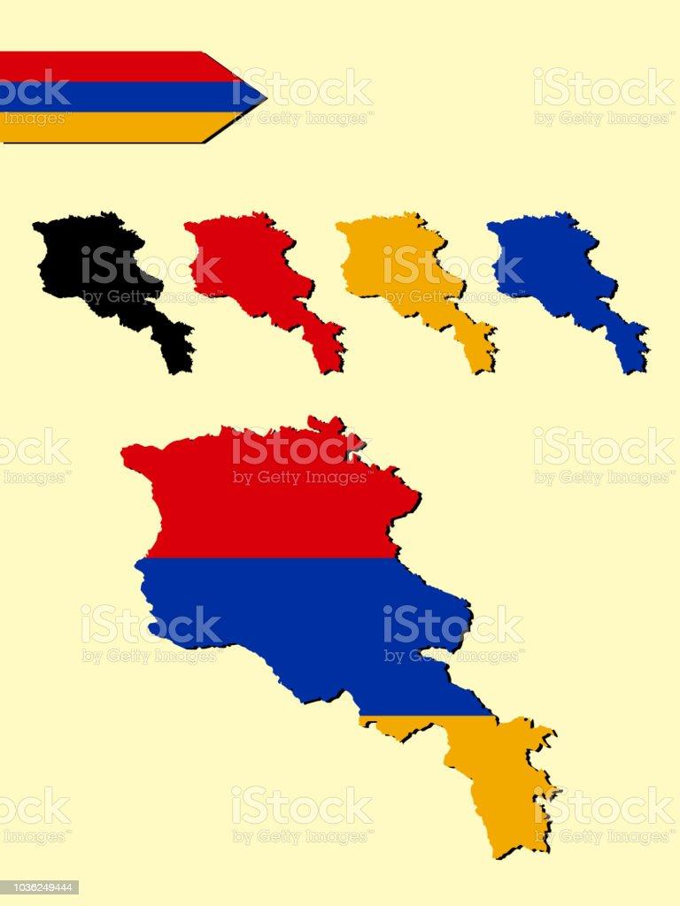 Armenien Karte.Armenia Map With National Flag Decoration