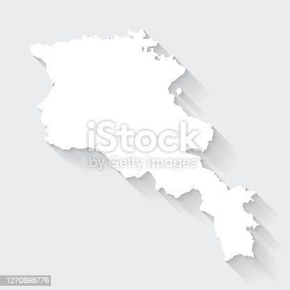 istock Armenia map with long shadow on blank background - Flat Design 1270698776
