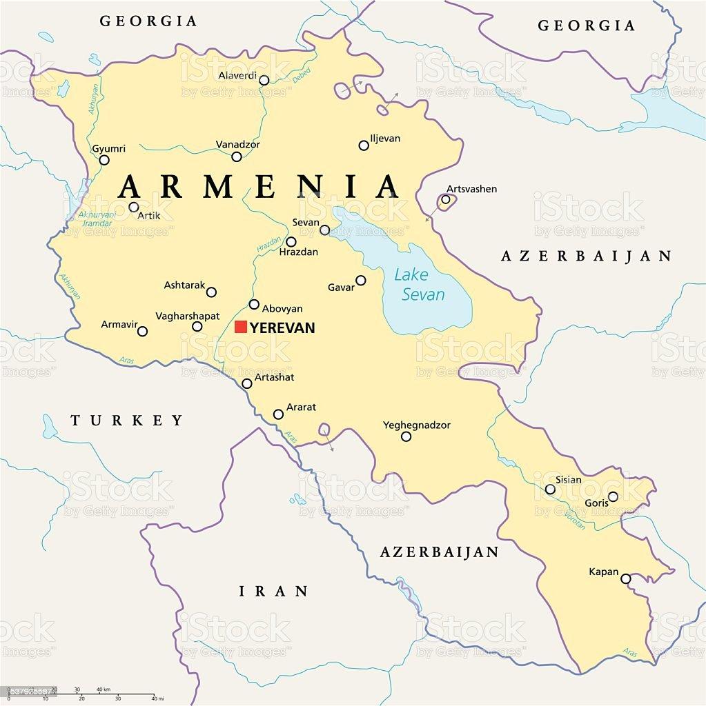 Armenien Karte.Armenien Politische Karte Stock Vektor Art Und Mehr Bilder