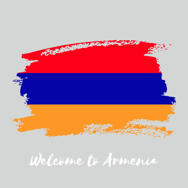 Armenia watercolor vector national country flag icon Armenia watercolor vector national country flag icon. Hand drawn illustration with dry brush stains, strokes, spots isolated on gray background. Painted grunge style texture for posters, banner design armenia country stock illustrations