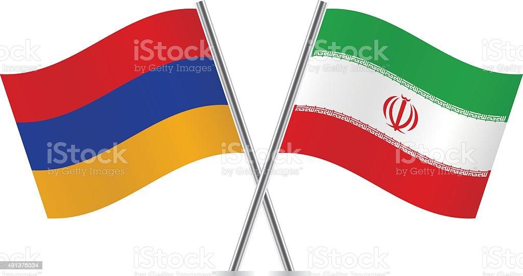 Armênio e iraniano flags. Vetor. - ilustração de arte em vetor