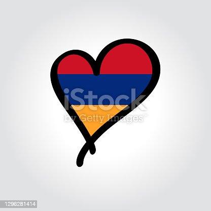 istock Armenian flag heart-shaped hand drawn logo. Vector illustration. 1296281414