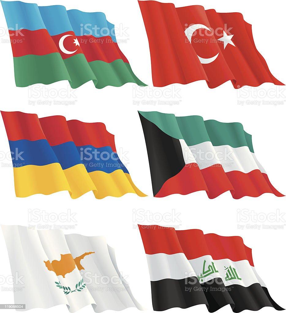 Armenian, Kuwaiti, Turkish, Cypriot, Azerbaijan, Iraqi flags vector art illustration