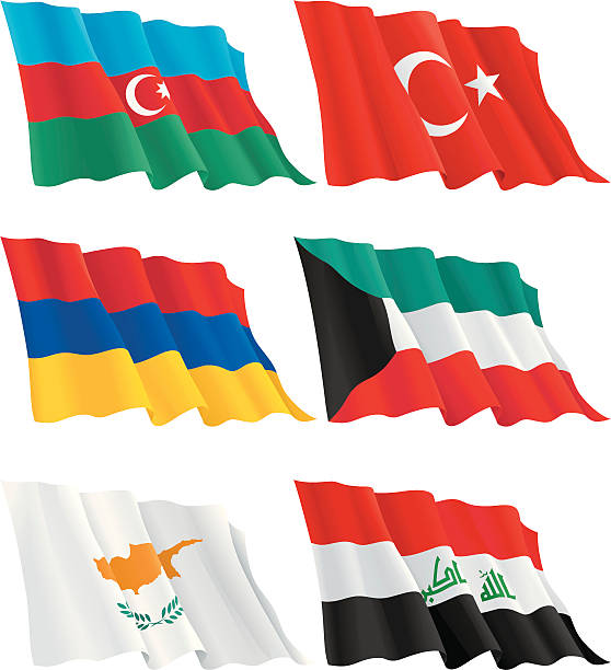 Armenian, Kuwaiti, Turkish, Cypriot, Azerbaijan, Iraqi flags Flags of Turkey, Azerbaijan, Armenia, Cyprus, Kuwait, Iraq. There are no meshes in this images.  File includes high res jpg, eps 8. azerbaijan stock illustrations