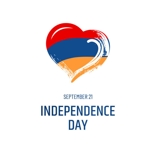Armenian national holiday. September 11 - Independence Day. Text, Hand-drawn heart and symbol of country - flag isolated on white background. vector art illustration