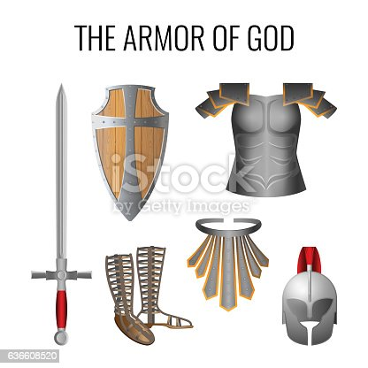 istock Armor of God elements set isolated on white. Vector 636608520