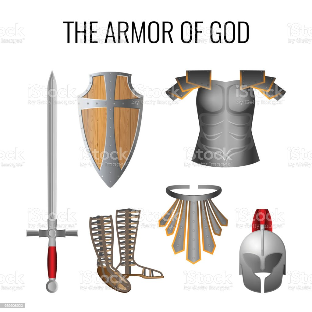 Armor of God elements set isolated on white. Vector vector art illustration