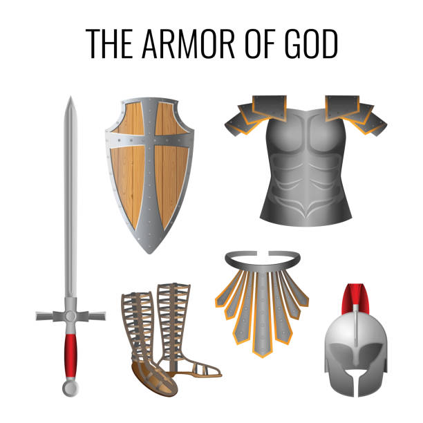 Armor of God elements set isolated on white. Vector Set of armor of God elements isolated on white. Long sword of the spirit, breathpate, sandals of readiness, belt of truth, readiness wooden shield of faith, armour helmet of salvation. Vector chess knight silhouette stock illustrations