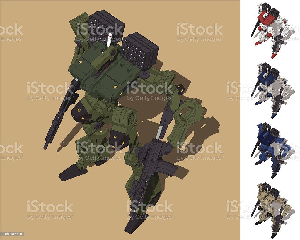 Armored Loader for army(with missile-pod)[front left overlook view] royalty-free stock vector art