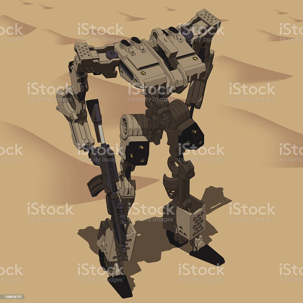 Armored Loader for army(with assault rifle)[front left top view] royalty-free armored loader for armyfront left top view stock vector art & more images of activity