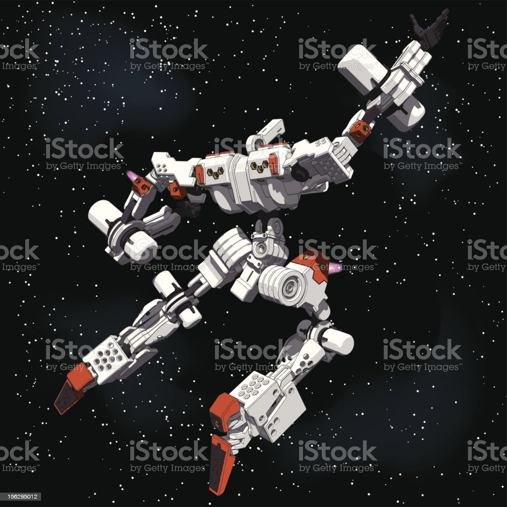 Armored Loader for space(with propellant tanks)[rear view] royalty-free stock vector art