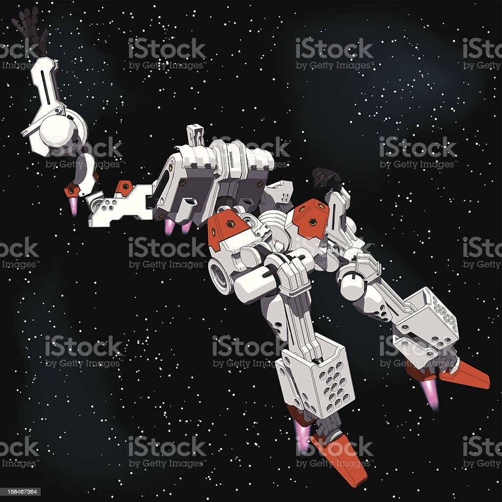 Armored Loader for space(with propellant tanks)[under view] royalty-free stock vector art