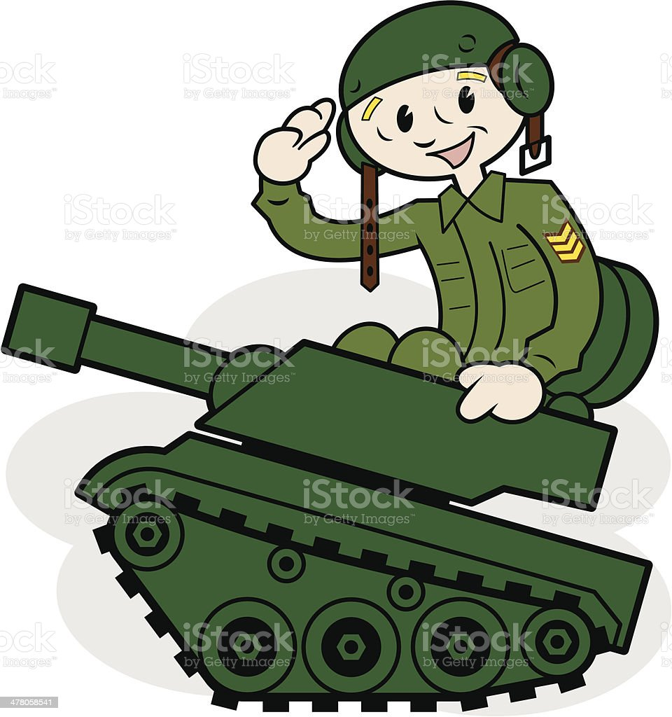 Armored tank driver cartoon royalty-free stock vector art