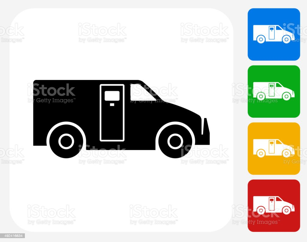 Armored Truck Icon Flat Graphic Design vector art illustration