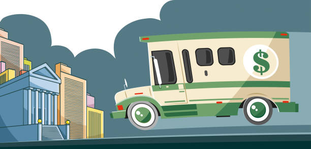 Armored truck on the way vector art illustration