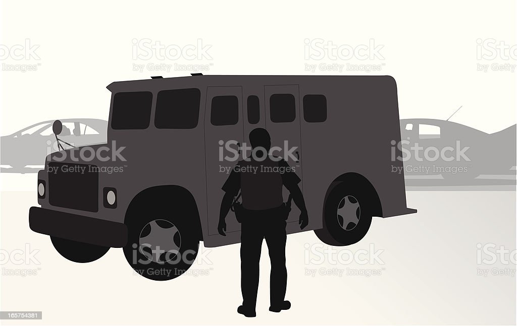 Armored Truck Vector Silhouette vector art illustration