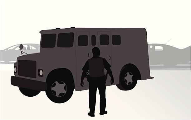 Armored Truck Vector Silhouette vector art illustration
