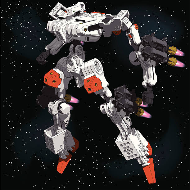 Armored-Loader for space(high-maneuver-package)[front left view] This illustration is AI8 EPS.All elements are arranged in layers for easier handling. giant fictional character stock illustrations