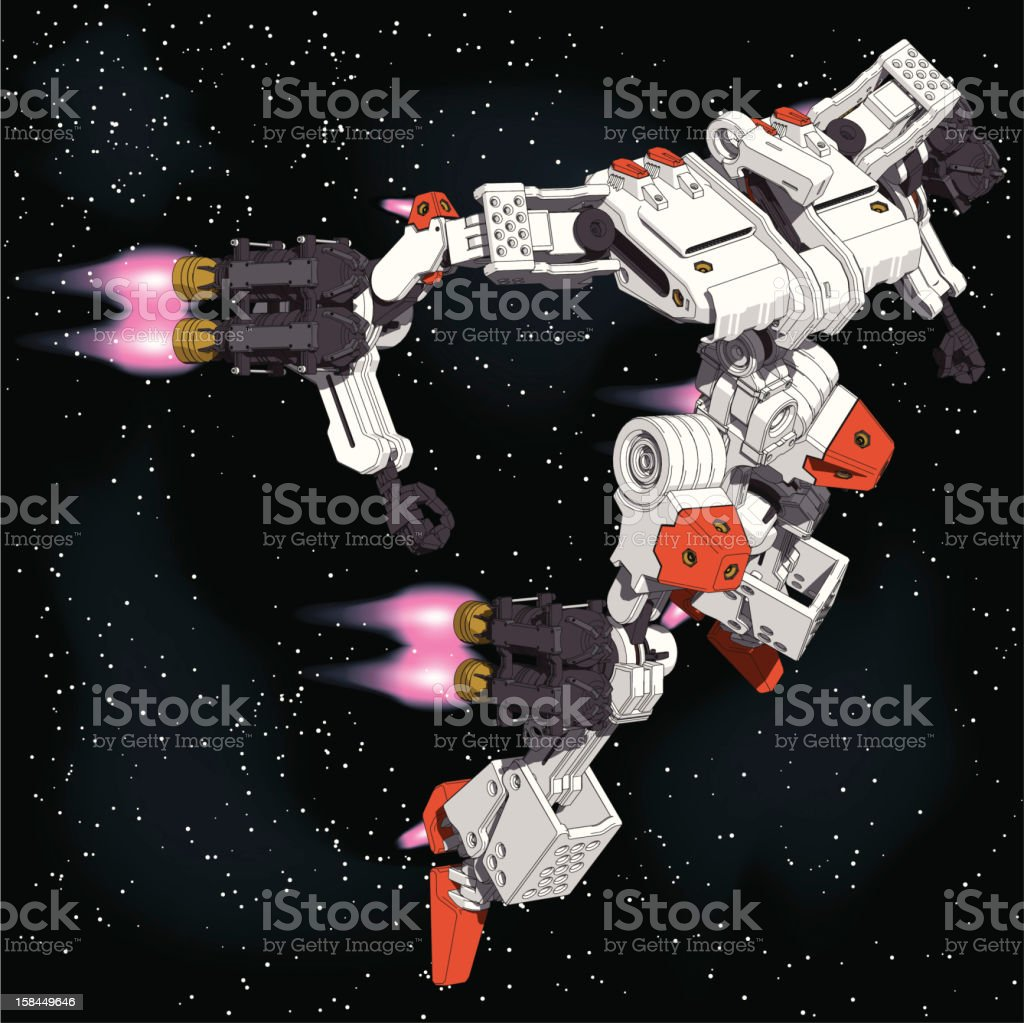 Armored-Loader for space(high-maneuver-package)[front right overlook view] royalty-free stock vector art