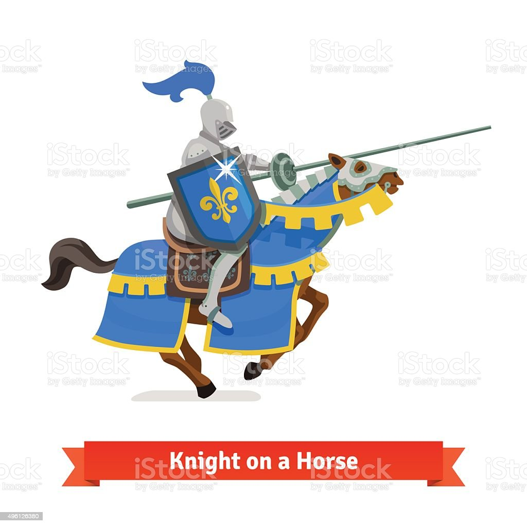 Armoured medieval knight riding on a horse