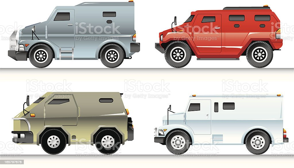 Armoured Trucks Set vector art illustration