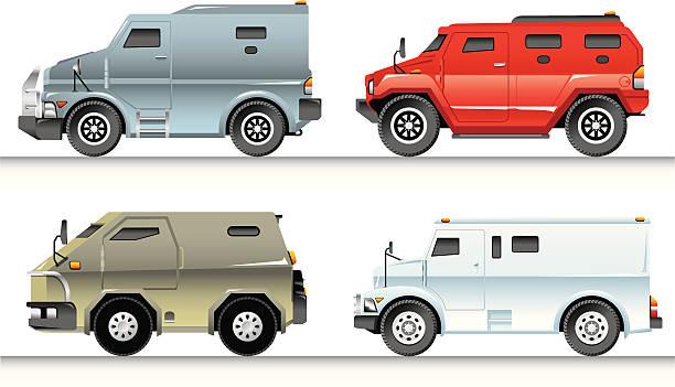Armoured Trucks Set vector art illustration