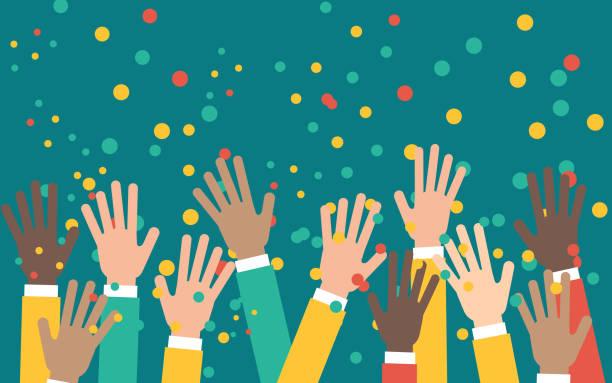 stockillustraties, clipart, cartoons en iconen met takken van mensen uit het bedrijfsleven opgewekt in de lucht, gelukkig menigte viering en ondersteuning - cheering