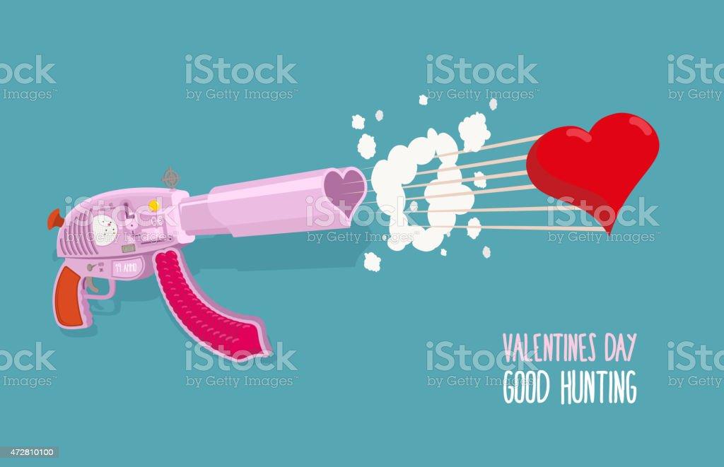 Arme Der Liebe Gun Schiesst Herzen Valentinstag Gute Jagd Stock