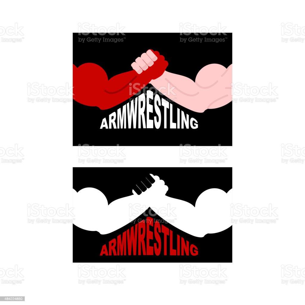 Armwrestling logo. Two strong hands. Vector illustration vector art illustration
