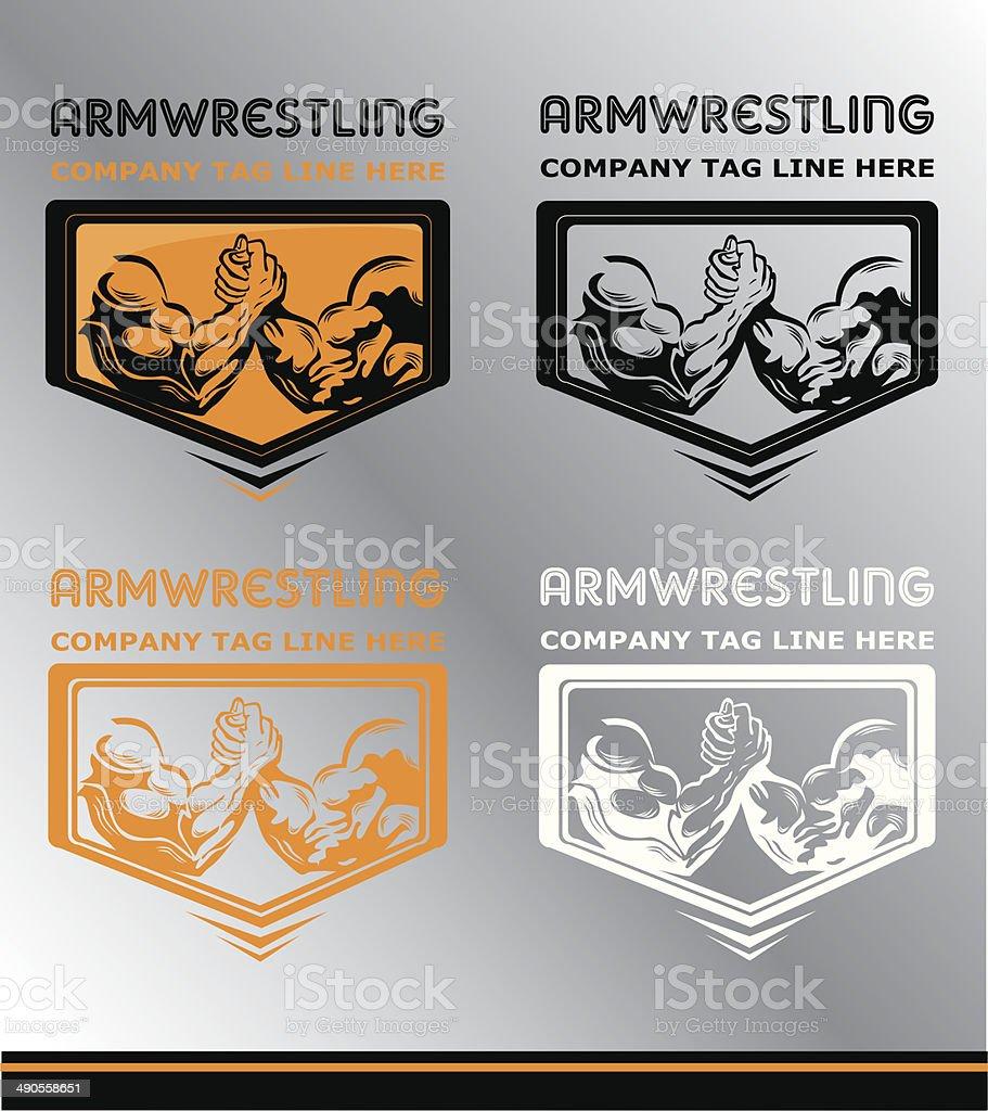 ArmWrestling vector art illustration