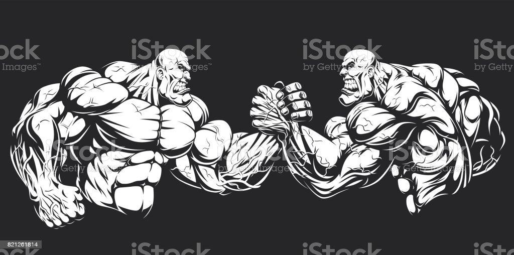 Armwrestling wrestling on hands vector art illustration