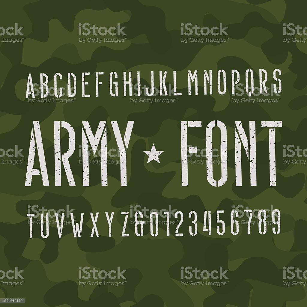 Army Alphabet Font Camo Background Stock Vector Art & More