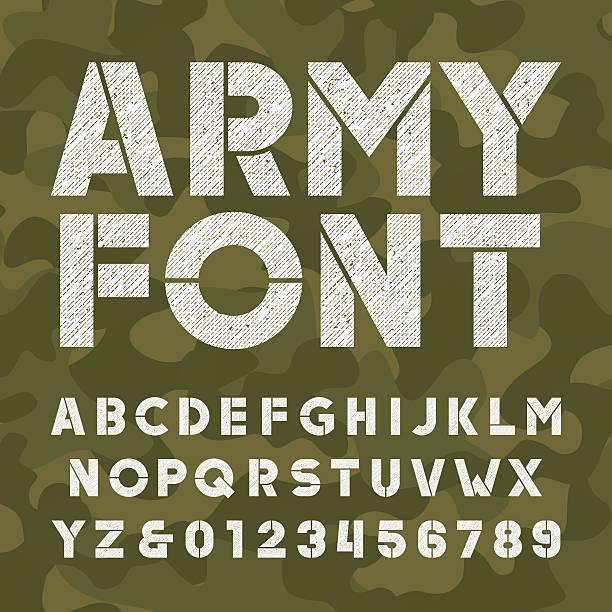 ilustrações, clipart, desenhos animados e ícones de army alphabet font. scratched bold type letters - forças armadas