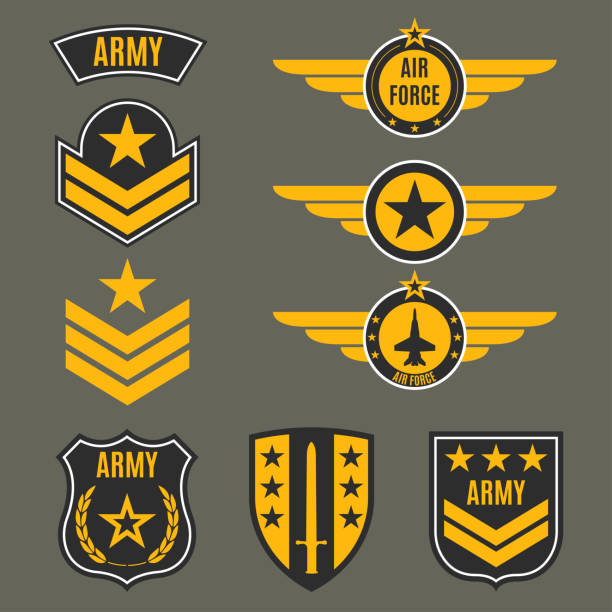 Army and military badge set. Shields with army emblem. Vector illustration. Army and military badge set. Shields with army emblem. Vector illustration. major military rank stock illustrations