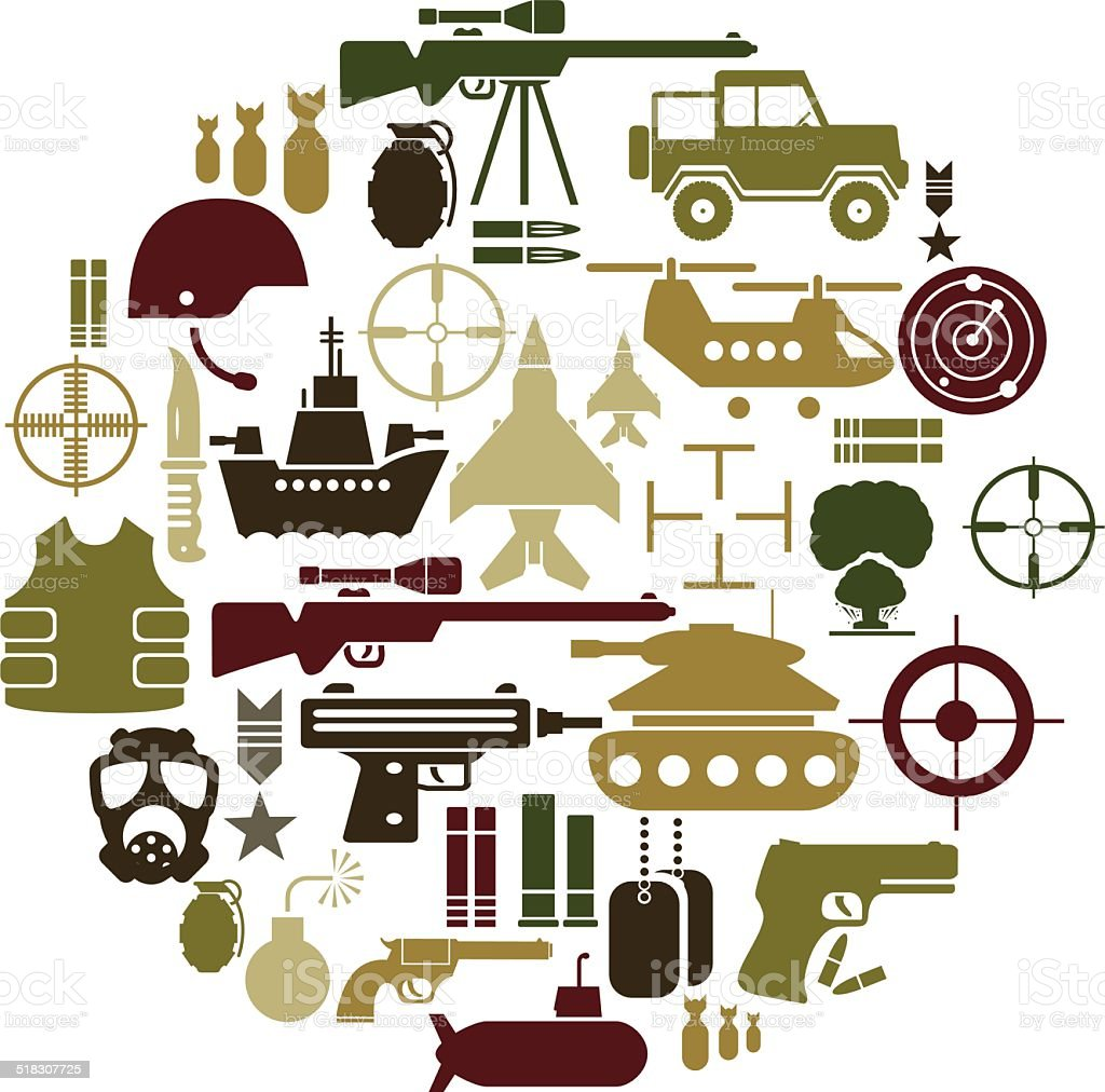 Army and Military Icon Set vector art illustration