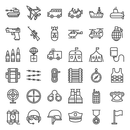 Army and military related outline icon