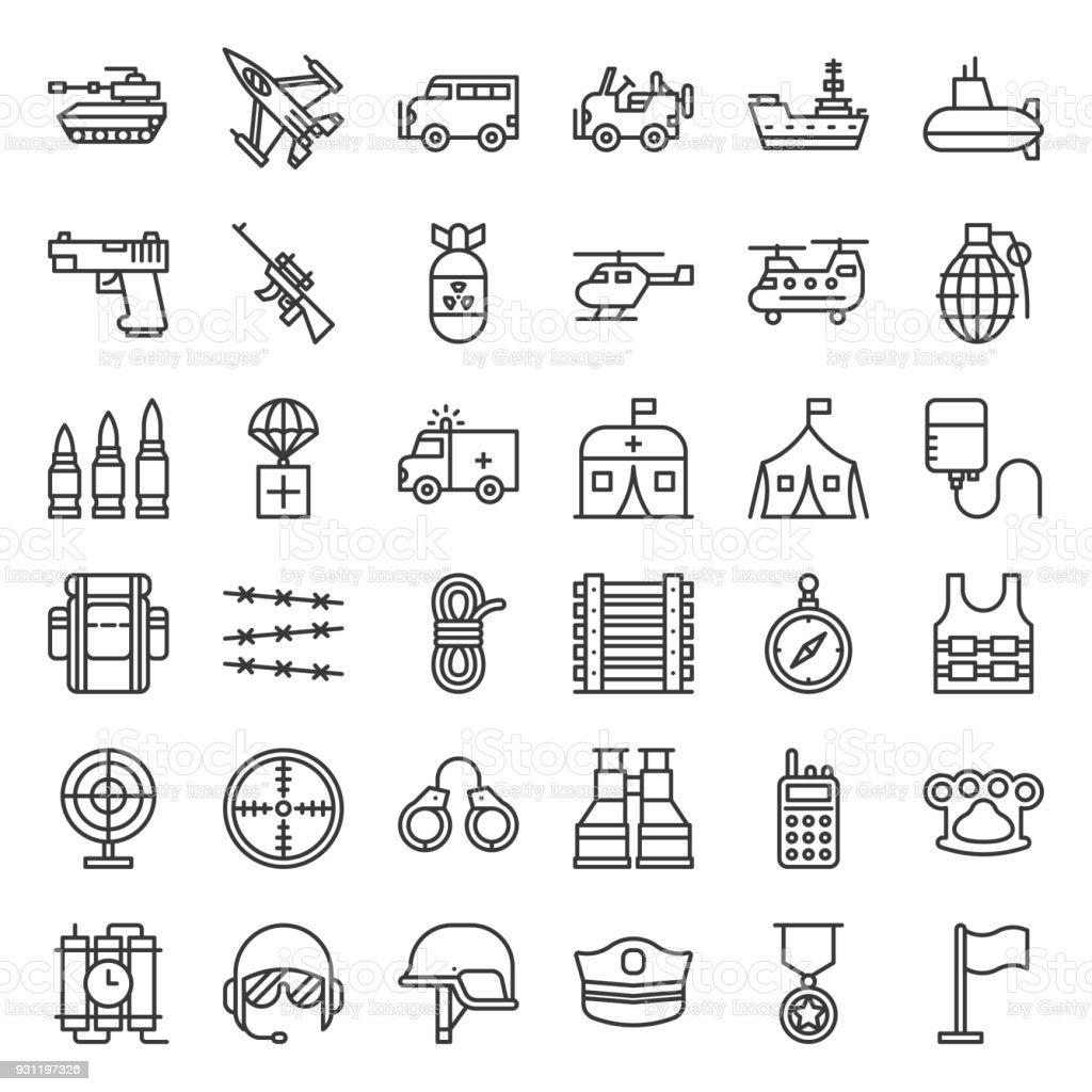 Armee und Militär Verwandte Übersicht-Symbol – Vektorgrafik