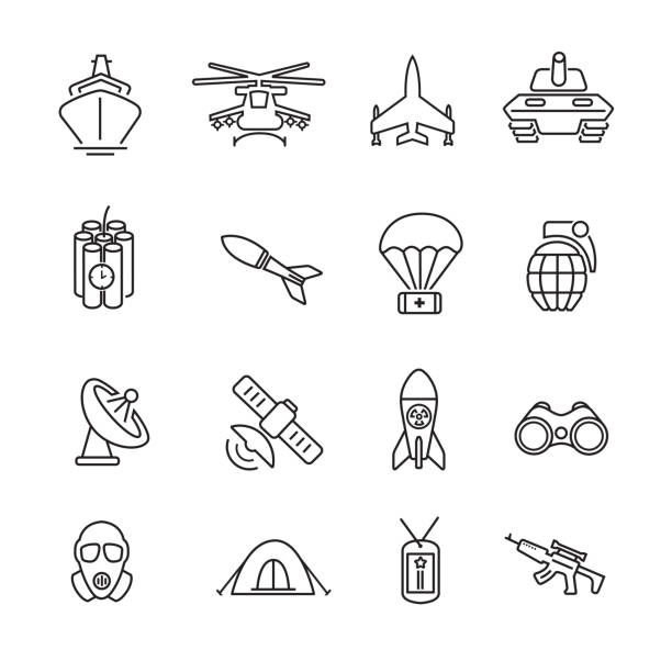 Army and Military thin line icons Army and Military thin line icons, Set of 16 editable filled, Simple clearly defined shapes in one color. surface to air missile stock illustrations