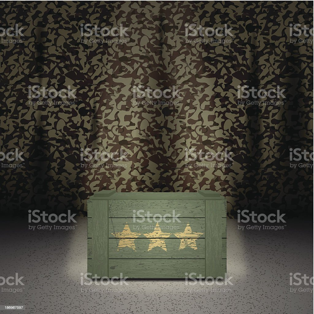 Army background with wooden box vector art illustration