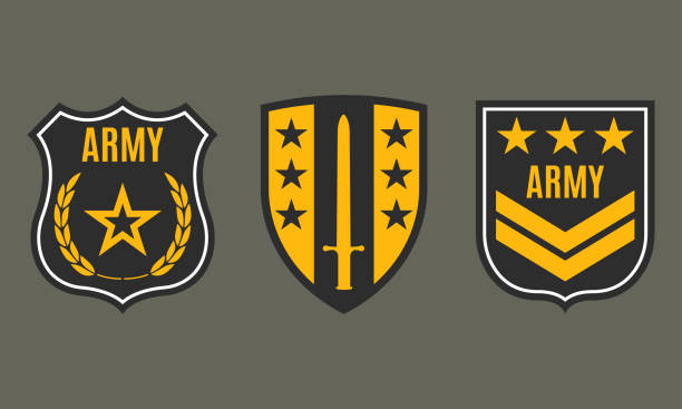 Army badge. Military patch with star. Force emblem. Vector illustration. Army badge. Military patch with star. Force emblem. Vector illustration. major military rank stock illustrations