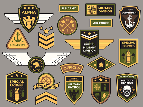 Army badges. Military patch, air force captain sign and paratrooper insignia badge vector patches set