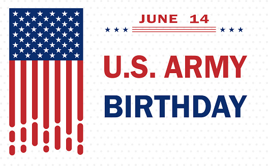 Army Birthday of United States, traditionally celebrated on June 14 with the colors of the waving American flag, background design for posters