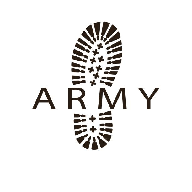 army boot vector art illustration