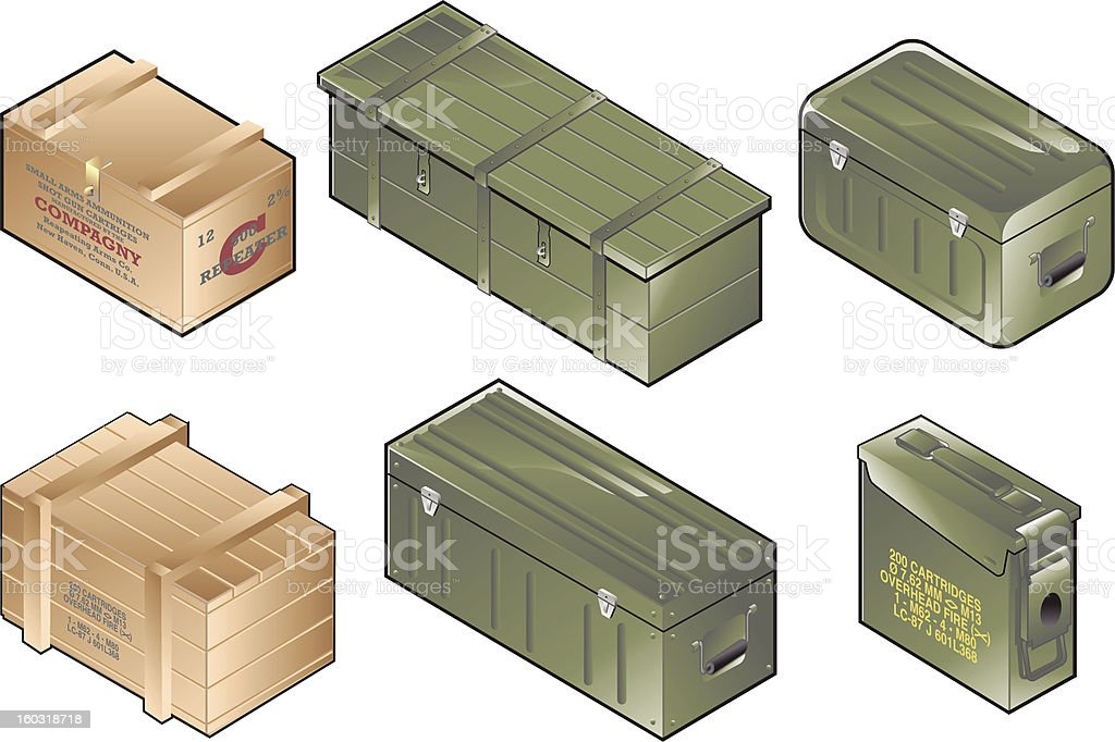 Army Boxes vector art illustration