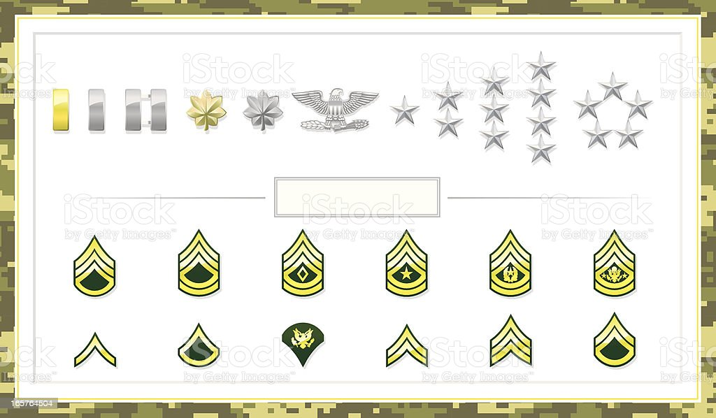 Army Class Insignias royalty-free stock vector art