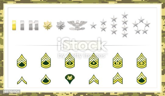 Army Insignias that define status. File is organized into layers and download includes EPS, JPG, PDF formats.