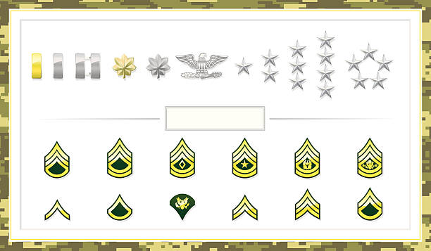 Army Class Insignias Army Insignias that define status. File is organized into layers and download includes EPS, JPG, PDF formats. major military rank stock illustrations